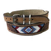 Hand carved and Beaded Dog Collar