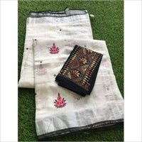 Linen Embordaries Work Design Sarees
