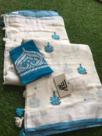 Linen Embordaries Work Design Sarees