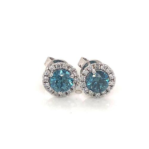 Blue Diamonds Earrings 1ct Each VS SI 14k White Gold CVD HPHT Lab Grown Stones