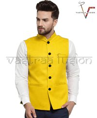 Men Plain Party Wear Galabandh Jacket - Yellow Colour