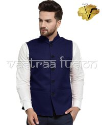 Men Solid Party Wear Galabandh Jacket - Navy Blue Colour