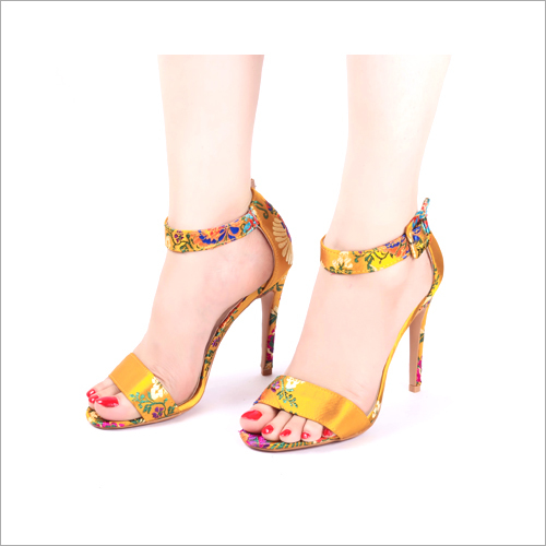 Embroidered Yellow High Heels Sandals