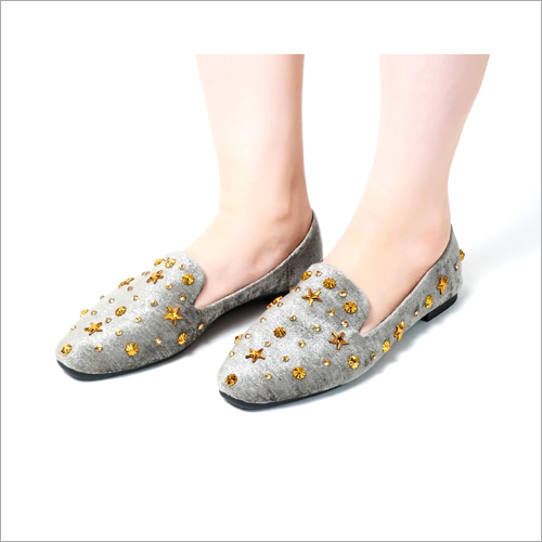 Glam Grey Slip On Flat Loafer