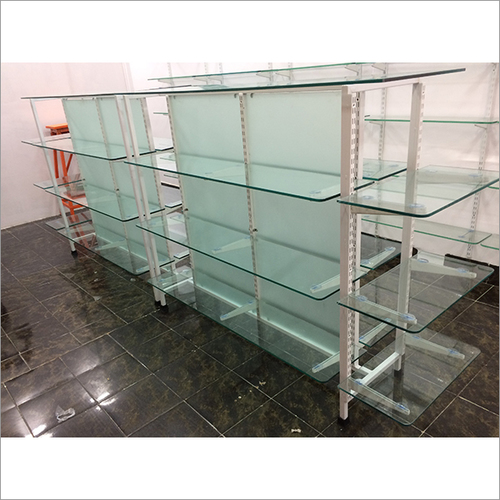 Glass Gondola Shelving Rack