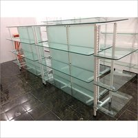 Glass Gondola Shelving Rack