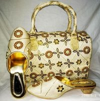 Cream color shoes & bags