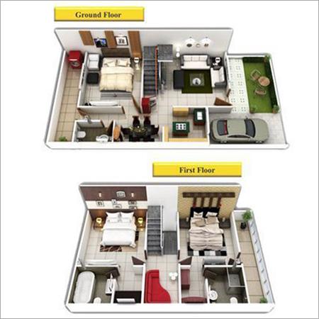Duplex House Plans 3d View
