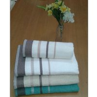 Dyed Poly Rib Border Hotel Towel
