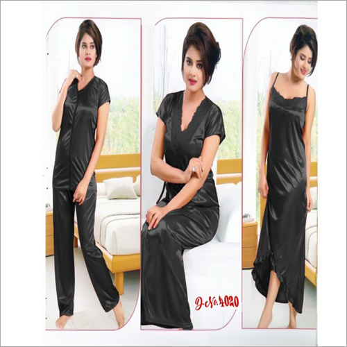 Ladies 3 Piece Satin Night Dress
