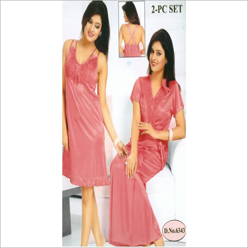 Ladies Plain 2 Piece Night Dress