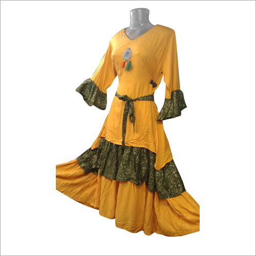 Ladies Layer Yellow Ruffle Kurti
