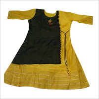 Ladies Chanderi Silk Angrakha Kurti