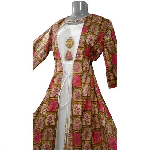 Ladies Georgette Long Jacket Gown