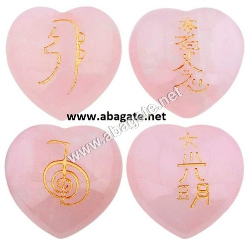 Rose Quartz Pub Heart Usui Reiki Set