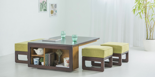 Wooden Center Table with stool Satiny