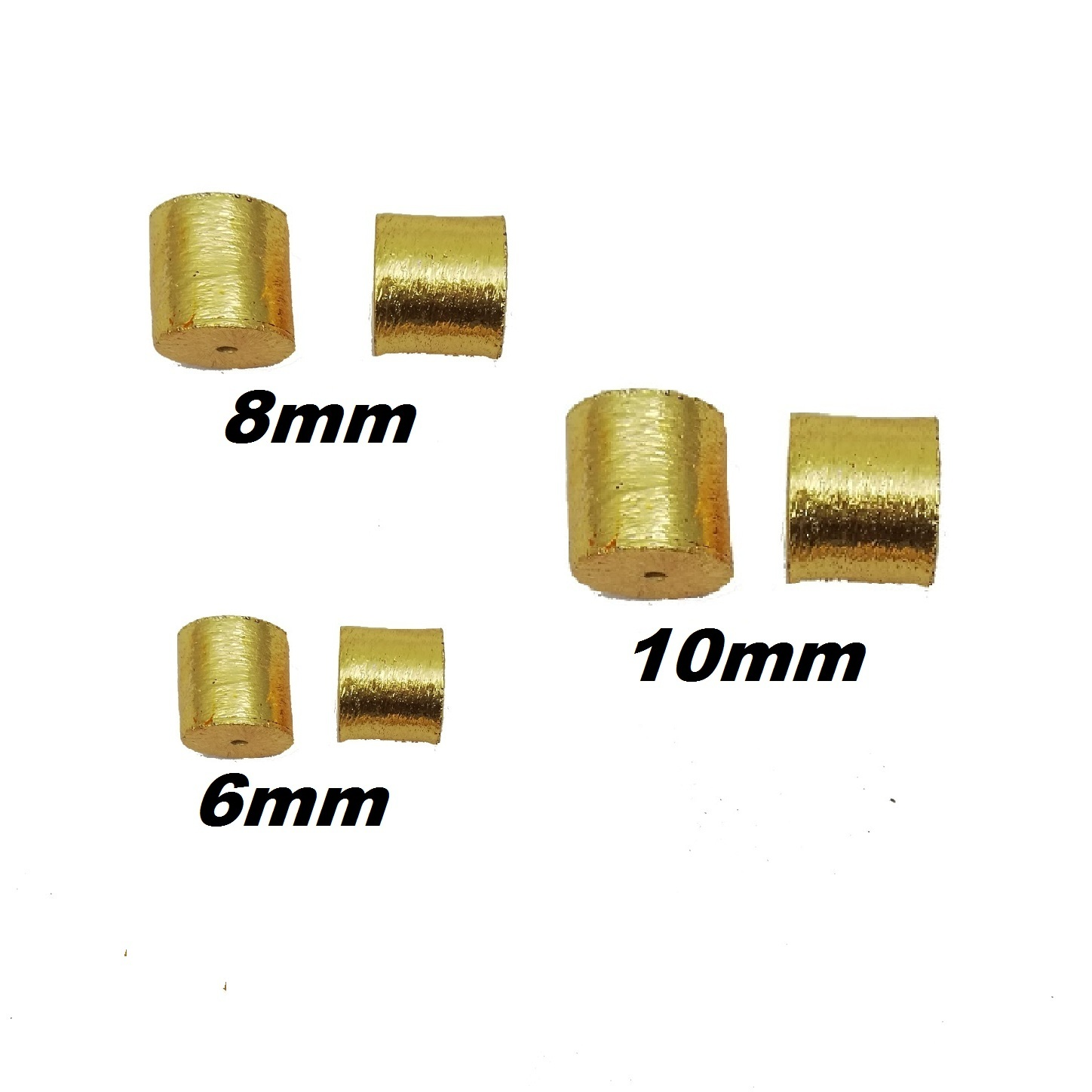 Brushed Gold Plated Drum Shape Bead