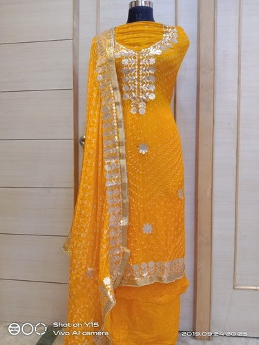 Jaipuri Art SIlk Bandhej Gottapati suits
