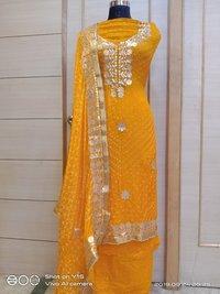 Jaipuri Art SIlk Bandhej Gottapati suits