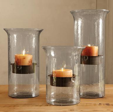 Lanterns & glass candle pillar