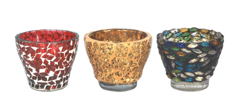 Multi Color Mosaic Votive