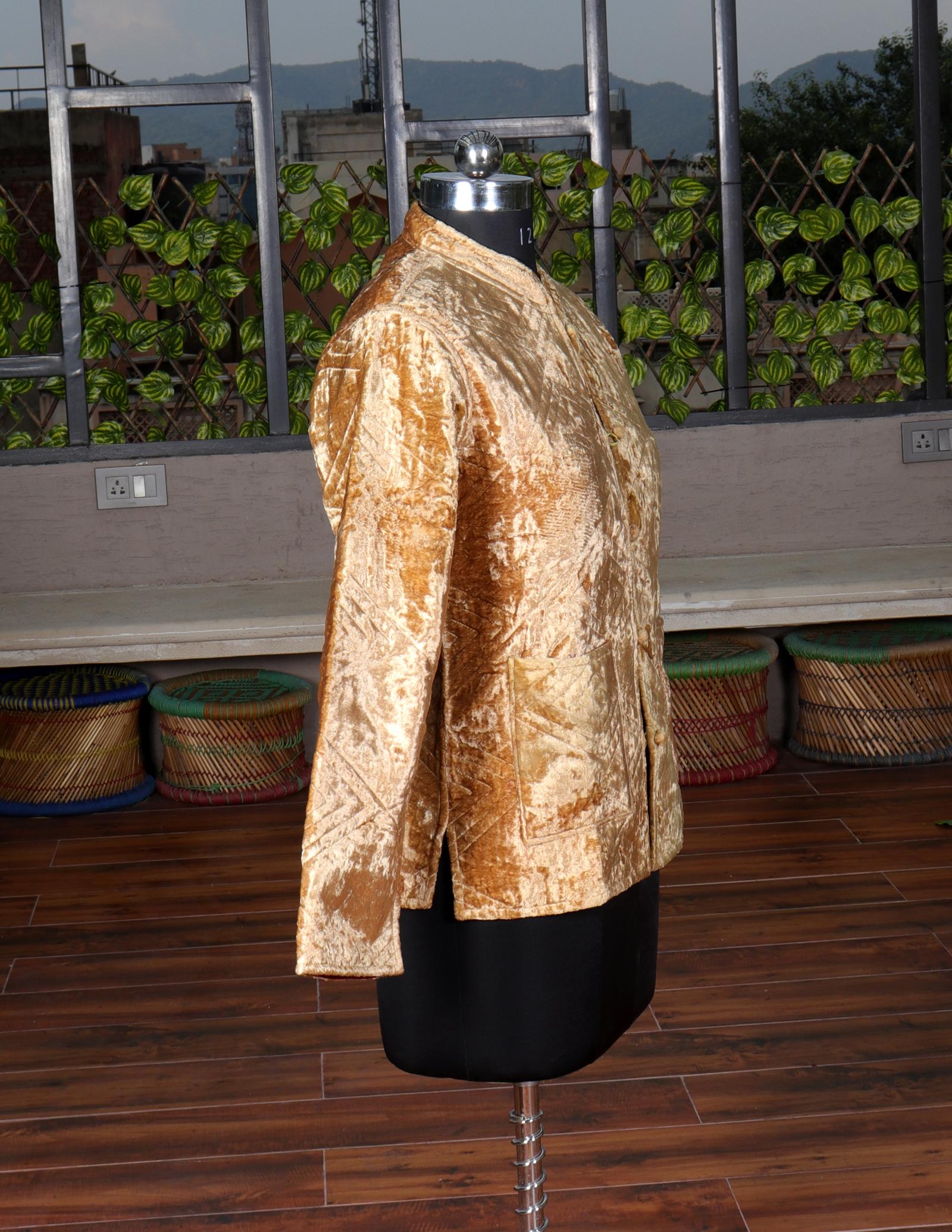 Machine Quilted Velvet Jacket
