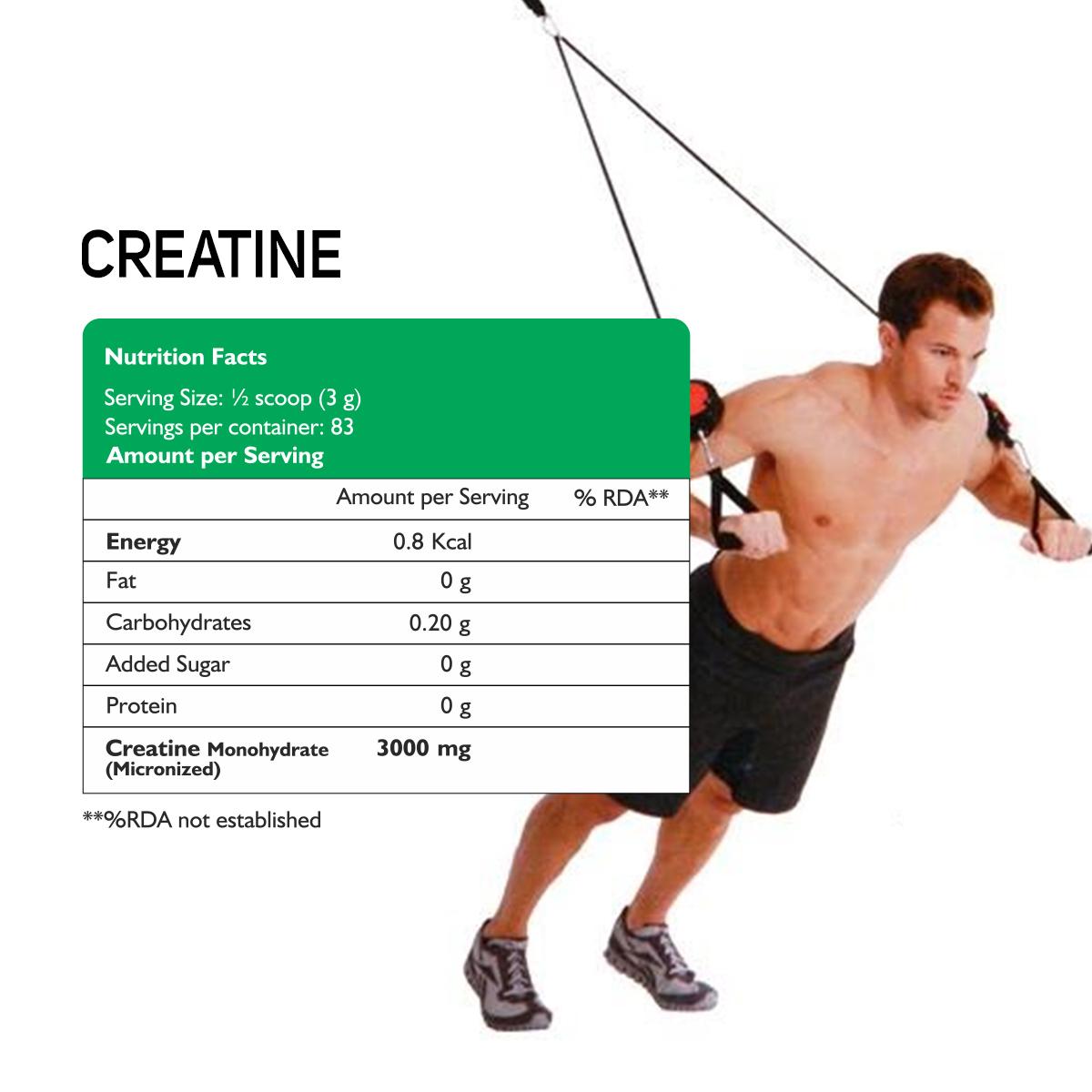 Micronized  Creatine  powder (Unflavoured) 250 Gm
