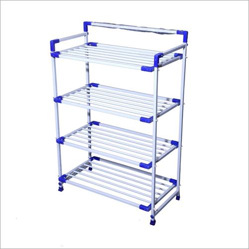 White And Blue Four Shelf Shoe Rack