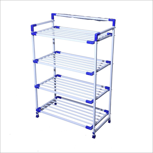 White And Blue Four Shelf Shoe Rack