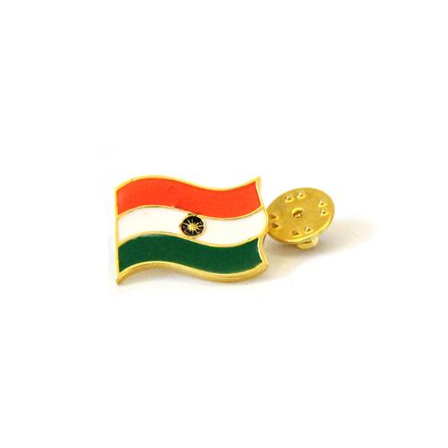 Saffron Indian Flag Metal Stud Pin Metal Brooch