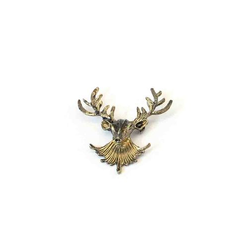 Deer metal brooch