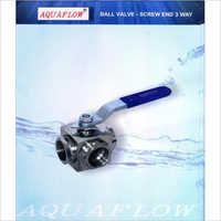 Aquaflow Ball Valve - Screw End 3 Way Stainless Steel