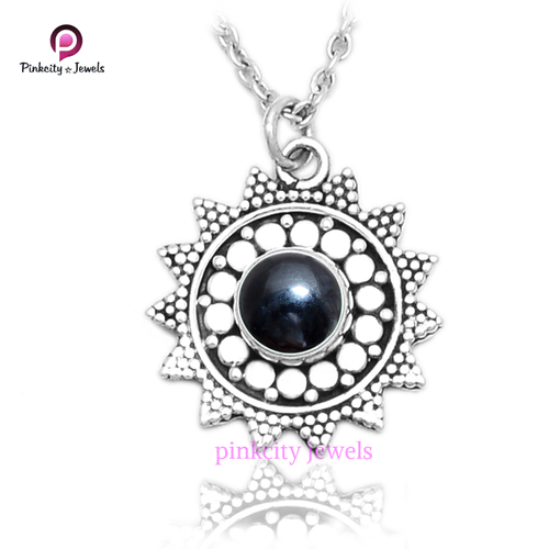 Natural Black Onyx 925 Sterling Silver Necklace