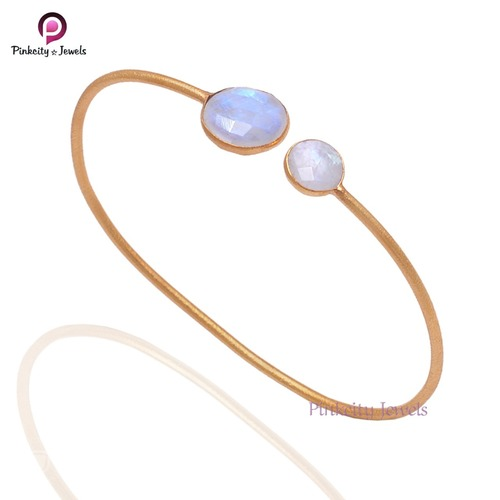 Natural rainbow moonstone round faceted 925 silver gold plated bangle