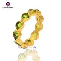 Natural Peridot Gemstone 925 Silver Gold Plated Ring