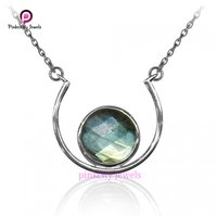 Natural Labradorite Faceted 925 Silver Necklace