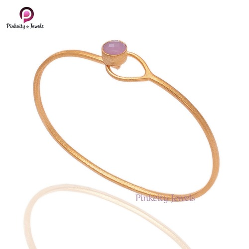 Pink chalcedony round faceted 925 silver gold plated bangle