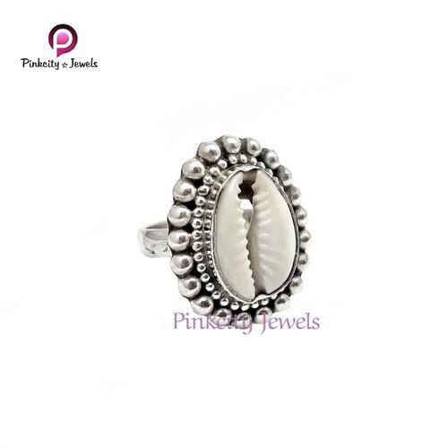 Natural Sea Shell (Kodi) Gemstone  925 Silver Ring