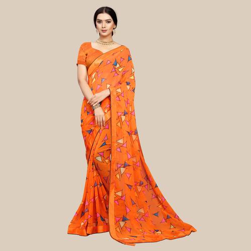 Orange printed sarees