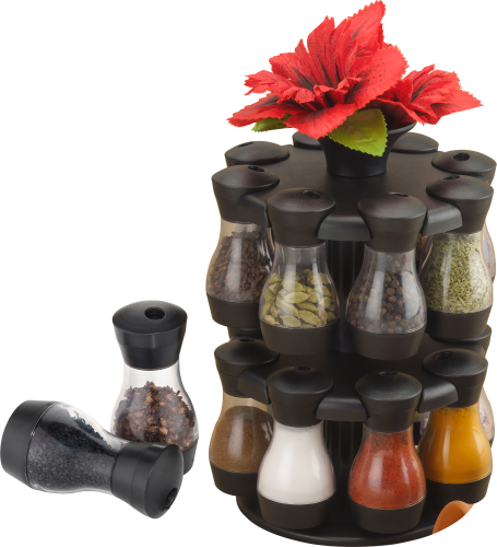 Masala Storage Royal 16 Jars With Flowers