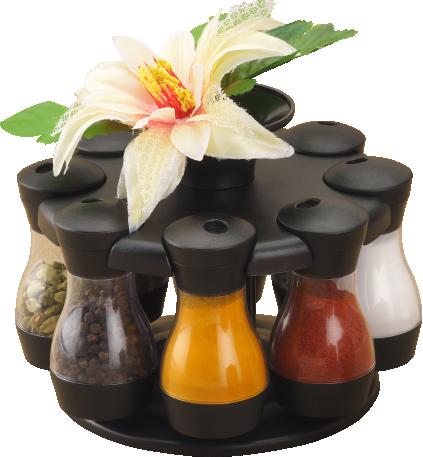 Masala Storage Royal 8 Jars With Flower Jars