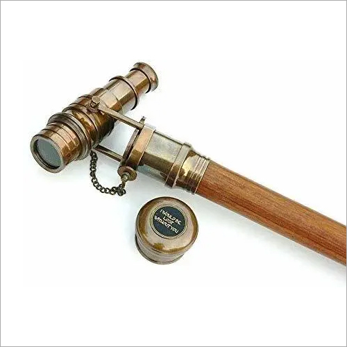 Wooden Walking Stick Cane With Nautical Solid Brass Chrome Telescope Handle Gift