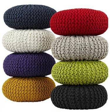 Multicolor Knitted Pouf
