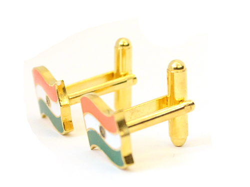 indian flag tri coloured enamel cufflink