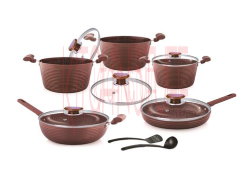 Nonstick Cookware Set 12 Pcs Dlx Chocolate