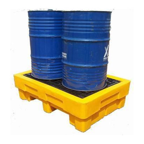 Yellow 2 Drum Spill Containment Pallets, Dimension/size: L1390x W990x H380mm
