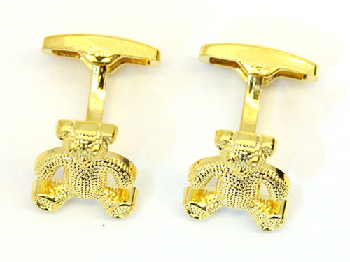 teddy bear golden metal cufflinks