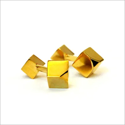 Golden solid metal cufflinks