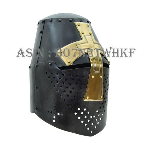 NAUTICALMART Darkened Crusader Helmet with Brass Cross