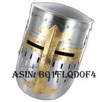 NAUTICALMART Functional Knights Templar Crusader Helmet Medieval 18 Gauge Steel Armor